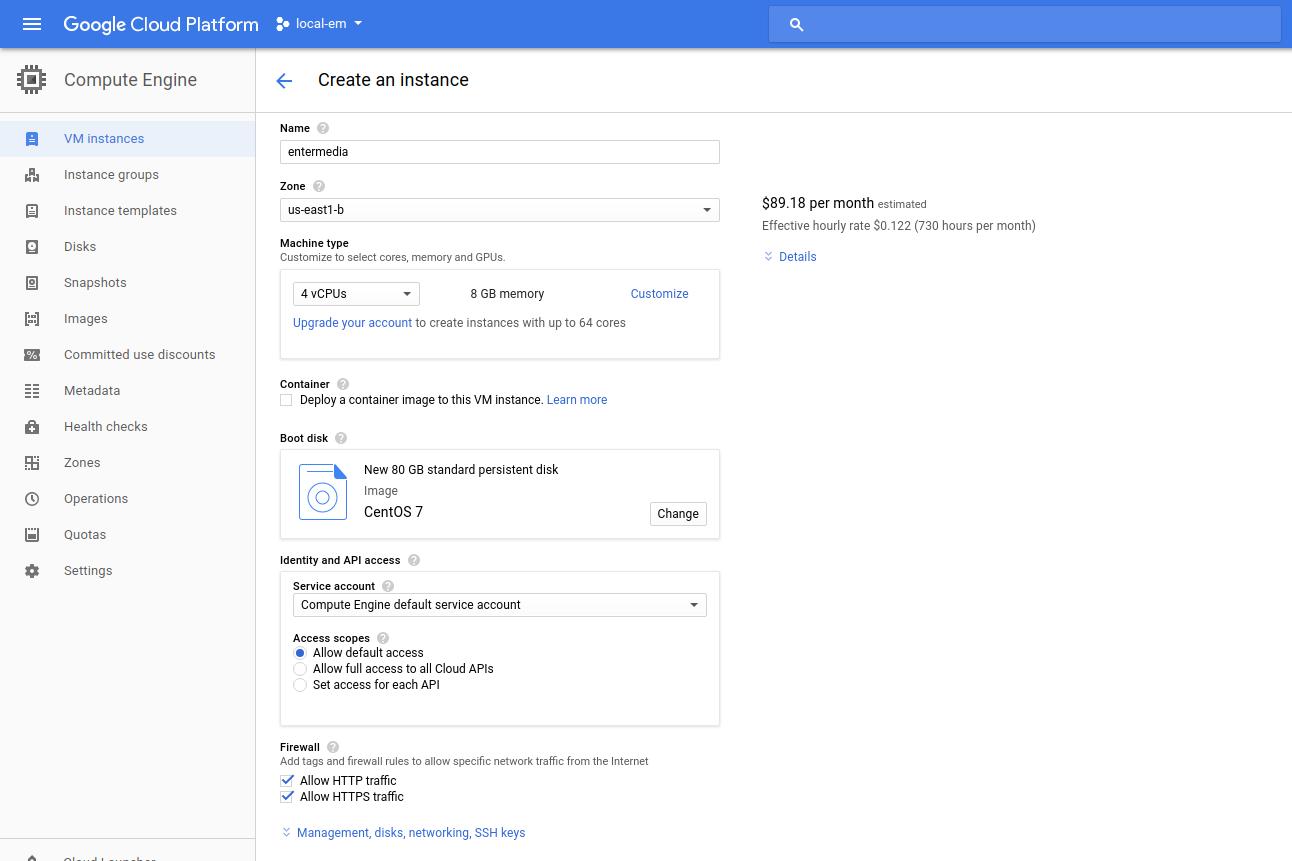 Deploy EnterMedia in Google Cloud Platform