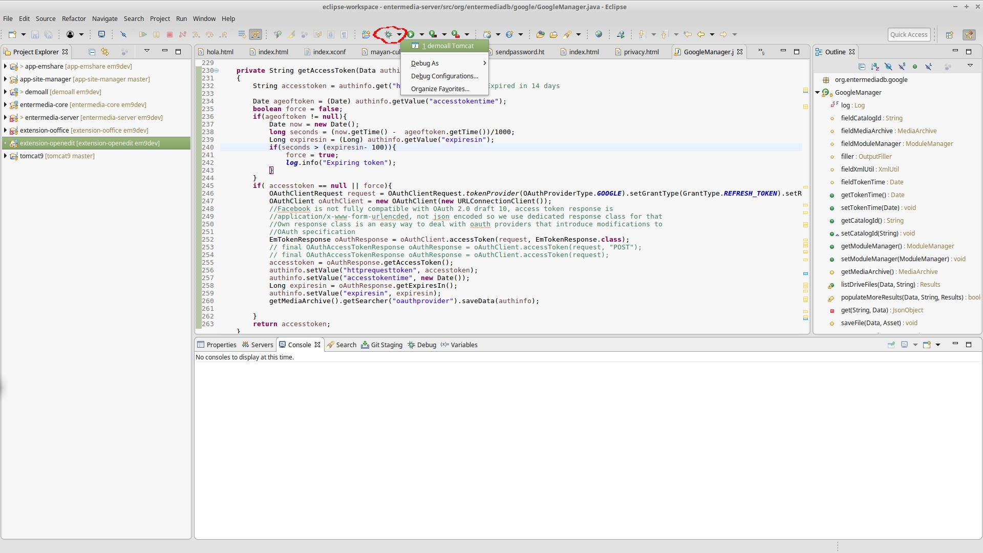 Run entermedia9 into Eclipse OXYGEN